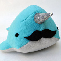 Narwhal Plush with Mustache Medium MADE TO ORDER by OstrichFarm