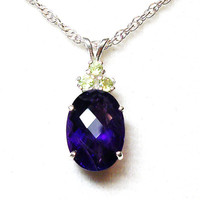 "Amethyst pendant, peridot accent pendant  ""Grape Greatness"""