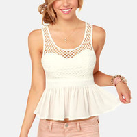 Here Goes Netting White Peplum Top