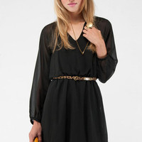 Long Sleeve Dress in Black :: tobi