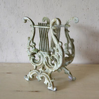 Vintage Metal Light Green Shabby Chic Distressed Magazine Rack / Holder