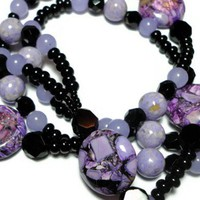 Lanyard Id Badge Necklace Purple and Black Gemstone Breakaway Angel