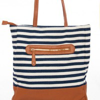 Mariner Tote in Navy - ShopSosie.com