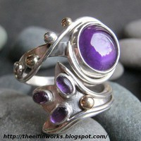 Handmade Sterling Silver Deep Purple Amethyst Wrap Around Ring | ElfinWorks - Jewelry on ArtFire