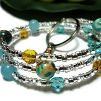Keychain Bracelet Gemstone Memory Wire One Size Blue Topaz Jewelry