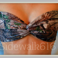 Real Tree Camo Bandeau Top Spandex Bandeau Bikini Swimsuit
