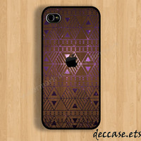 IPHONE 5 CASE apple dark wood AZTEC geometric triangle galaxy iPhone 4 case iPhone 4S case iPhone case Hard Plastic Case Soft Rubber Case