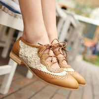 Hansenne aulic retro lace sweet hollow flower shoes