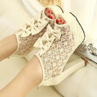 retro Sexy sweet elegant lace bowknot hollow high-heeled shoes sandal