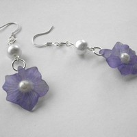 Purple Flower and Pearl Earrings | JabberJewels - Jewelry on ArtFire