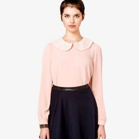 Eyelet Peter Pan Collar Top