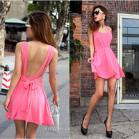 Sweetly Sexy backless pure color condole of tall waist dress
