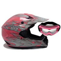 Pink Flame Dirt Bike ATV Motocross Off-road Mx Helmet with Goggles (Small)