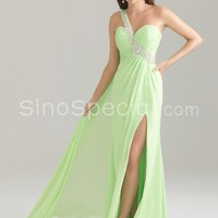 Fantastic A-line One-shoulder Beaded Side Split Floor Length Chiffon Homecoming Dress-SinoSpecial.com