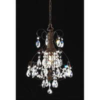 AT HOME by O  Brushed Oak 1-light Teardrop Crystal Chandelier
