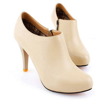 Cow Leather Round Toe High Heels - OASAP.com
