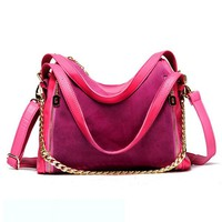 Chic Suede Panel Zipped Shoulder Bag - OASAP.com