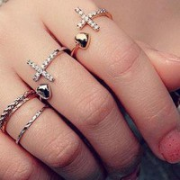 Rhinestone Pave Cross with Heart End Open Ring
