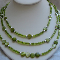 Three  Strand Olive Green Bead Necklace by PattysDreamDesigns