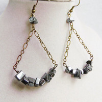 Hematite Trapeze Long Boho Bronze Chain Earrings