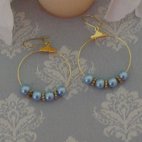 Blue Hoop Earrings by PattysDreamDesigns on Etsy