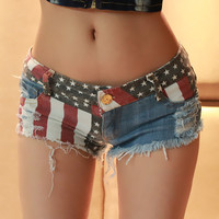 American Flag Distressed Denim Shorts