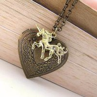 Unicorn Love Antique Brass Heart Locket and by earringsnation