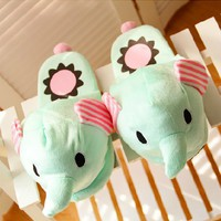 Sentimental Circus Elephant Slippers for Home