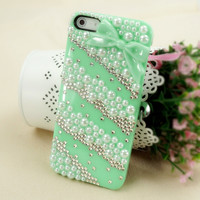 Rhinestone and Pearl Lace Case with Bowtie for iPhone 5