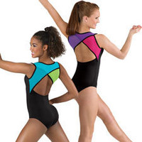 Multi-Colored Mesh Back Tank Leotard; Balera