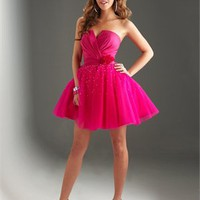 Sweetheart A-line Flower Taffeta Organza Prom Dress PD0143
