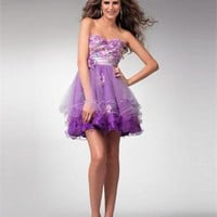 A-line Sweetheart Empire with Flower Taffeta Tulle Prom Dress PD0139