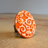 Tangerine Orange Hawaiian Print Ceramic Cocktail by contempojewels