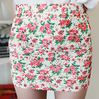 Vintage Flower Elastic Slim Mini Skirt
