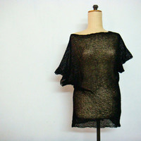 Black Sheer Hand Knit Blouse Top Shirt Size S and L