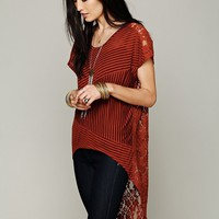Free People Daydream Lace Stripe Top