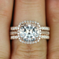 Barra Princess Size 14kt Rose Gold Thin White Topaz Cushion Halo Trio Wedding Set (Other metals and stone options available)