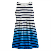 Deep Navy Girls' stripe dip-dyed dress - everyday - Girl's dresses - J.Crew