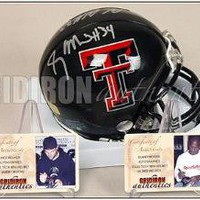 Wes Welker and Sammy Morris Autographed Texas Tech Mini-Helmet | Authentic Signed