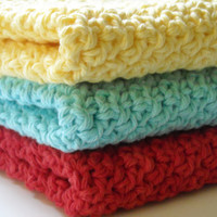 Crochet Kitchen Dishcloths Cotton Retro Colors by PeanutsCrochet
