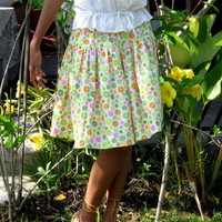 ON SALE Lime Green and White Print Midi Skirt / Spring Fashion Skirt / Ready to Ship