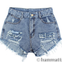"ALL SIZES ""RAVEL"" Vintage high waisted denim shorts blue distressed frayed jeans"