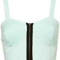 MOTO Mint Denim Zip Bralet - Jersey Tops - Clothing - Topshop
