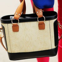 Chic Womens Color Block Croco Handbag Totes Shoulder Bags Small Purses Casual AT