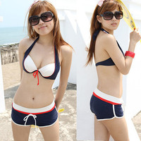 Sexy 3pcs Bikini Swimsuit Women Halter Underwire Triangle Shorts Boxer Brief 1J8