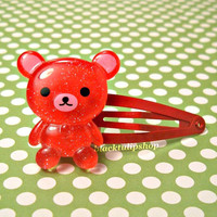 Glitter Bear Sweet Lolita Fairy Kei Red Hair Snap Clips Barrettes Kawaii Hair Accessory SALE