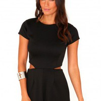 Missguided - Moreen Cut Out Playsuit In Black