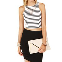 Black/White Striped Cropped Top