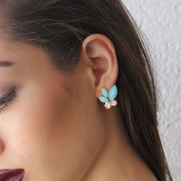 Turquoise Rhinestone Stud Earrings