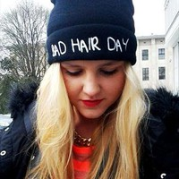Black BAD HAIR DAY beanie hat Customised Embroidery Stiching from RVillage